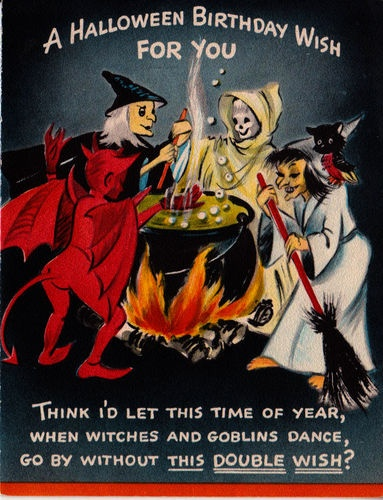 vintage halloween birthday cardwitches brew - Happy Halloween Birthday