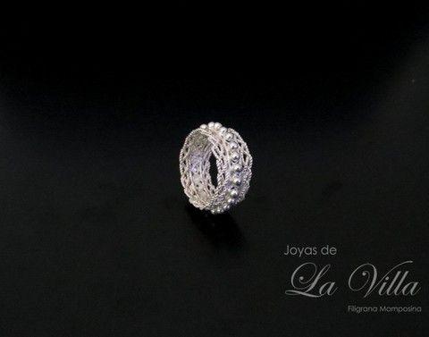 Argolla trenzada con gotas de plata (talla 6). Filigrana Momposina Plata Ley 950 - comprar online