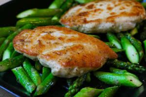 Chicken and Quickly Roasted Asparagus served with Tahini Sauce | Reci ...