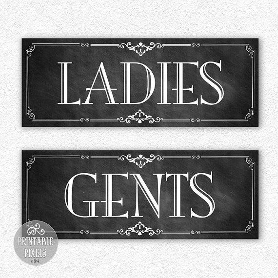 Restroom #2C (Chalkboard) Printable Signs / Bathroom Signs / Ladies Gents / DIY Instant Download / Ready To Print