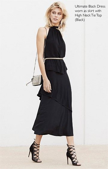 ULTIMATE BLACK CONVERTIBLE STRETCHY JERSEY DRESS IN BLACK
