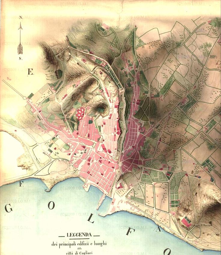 Cagliari Map 1858 618 best Cartography images