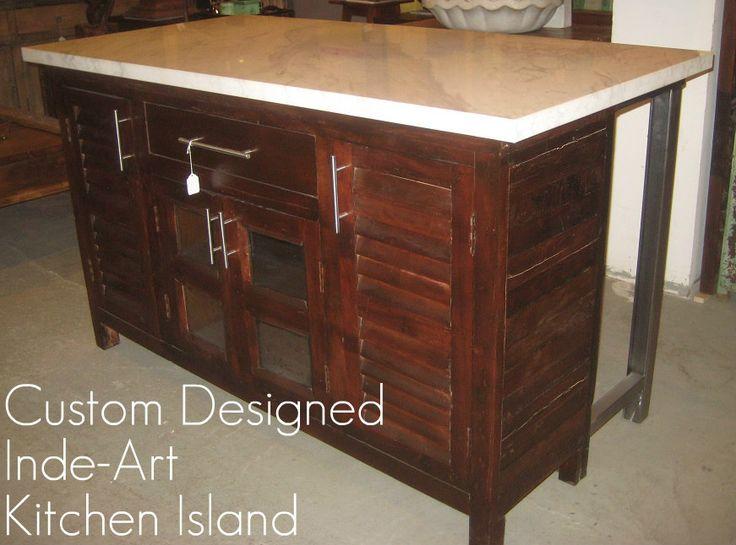 Inde-Art reclaimed wood kitchen island