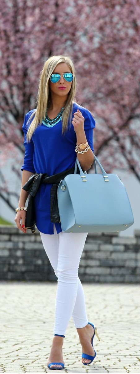 Blue and white spring outfit idea. -- 60 Stylish Spring Outfits @styleestate