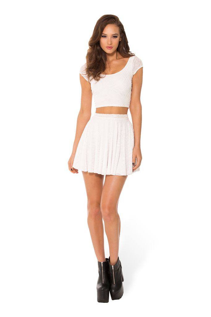 SOLD Burned Velvet White Cap Sleeve Crop (WW $55AUD / US $50USD) by Black Milk Clothing