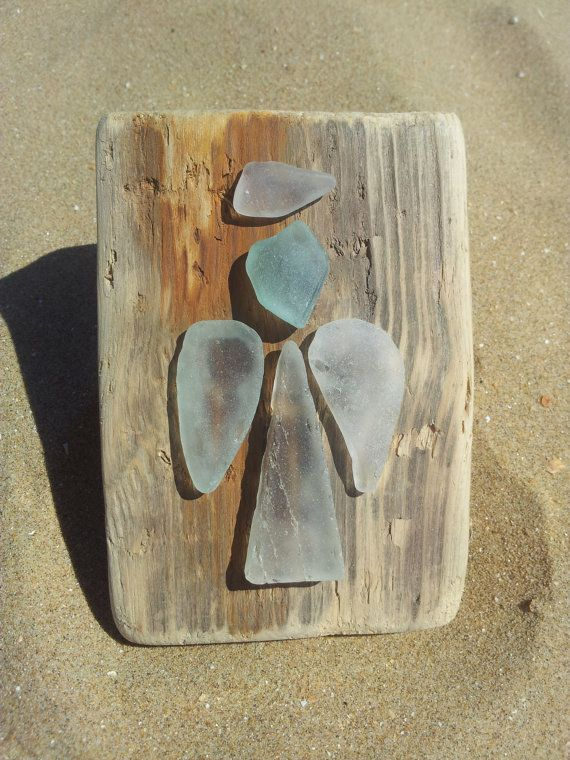 Sea glass Angels on driftwood. Found on Margate beach by dollydora, £20.00