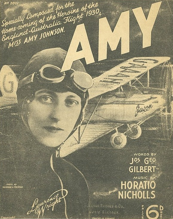 song composed especially for Miss Amy Johnson, 1930 pilot plane woman