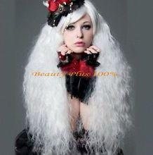 Envío de La Manera mujeres de La Muchacha de señora girl Lolita Popular mullido largo rizado peluca blanca Cosplay(China (Mainland))