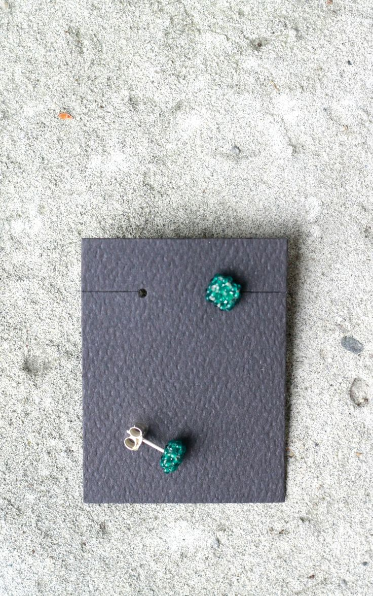 MINI Green Beaded Square Stud Earrings | Shalane Hopkins