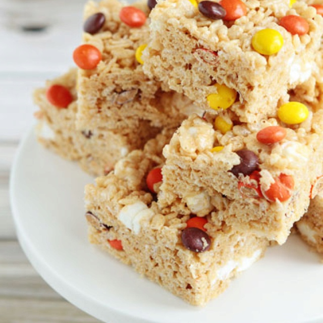 Peanut Butter Rice Krispie Treats with Reese's Pieces!