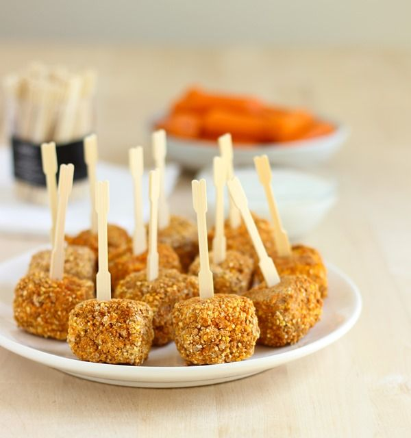 Baked Buffalo Tofu Bites, try freezing the tofu first for that extra firm texture.