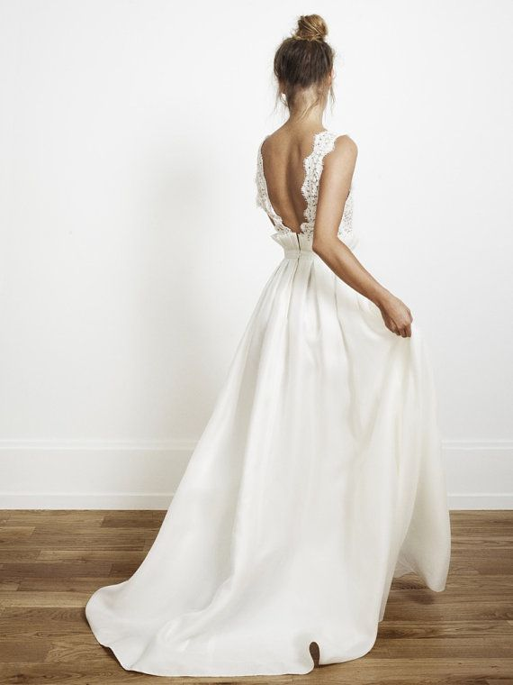 Modern backless lace bodice and taffeta skirt wedding by Yukigown, $319.00
