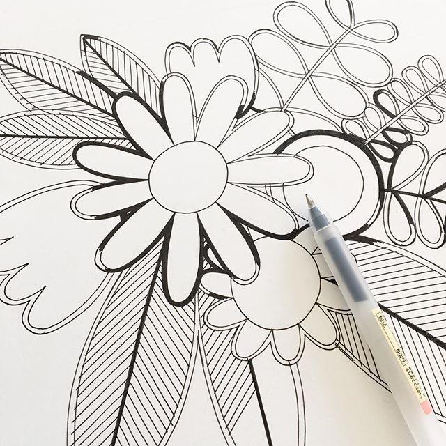 Flower doodle #janefoster #doodle #janefosterillustration #finelinedrawing