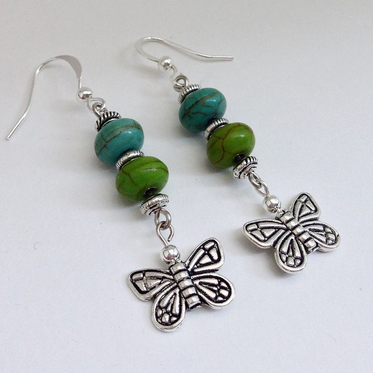 Turquoise & Green Beaded Dangling Drop Earrings with Silver Butterfly Charm, Casual Everyday Dangle Earings by EverydayWomenJewelry on Etsy https://www.etsy.com/listing/233054971/turquoise-green-beaded-dangling-drop