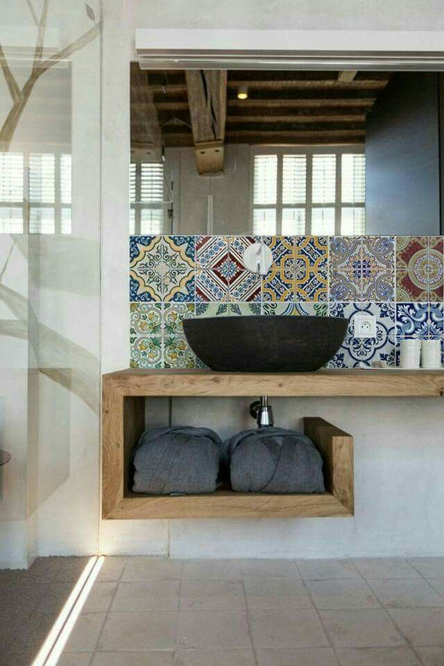 Patterned tiles do add character to a more neutral/natural palette.