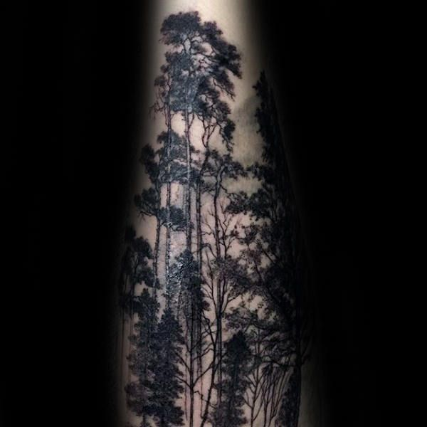Detailed Forest Trees Tattoos For Guys