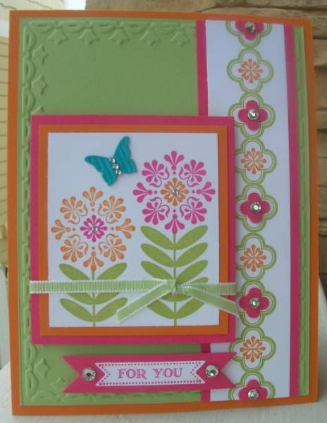 Madison Avenue Stampin' Up! stamp set.  Love the colors and the little punches over the border stamp.