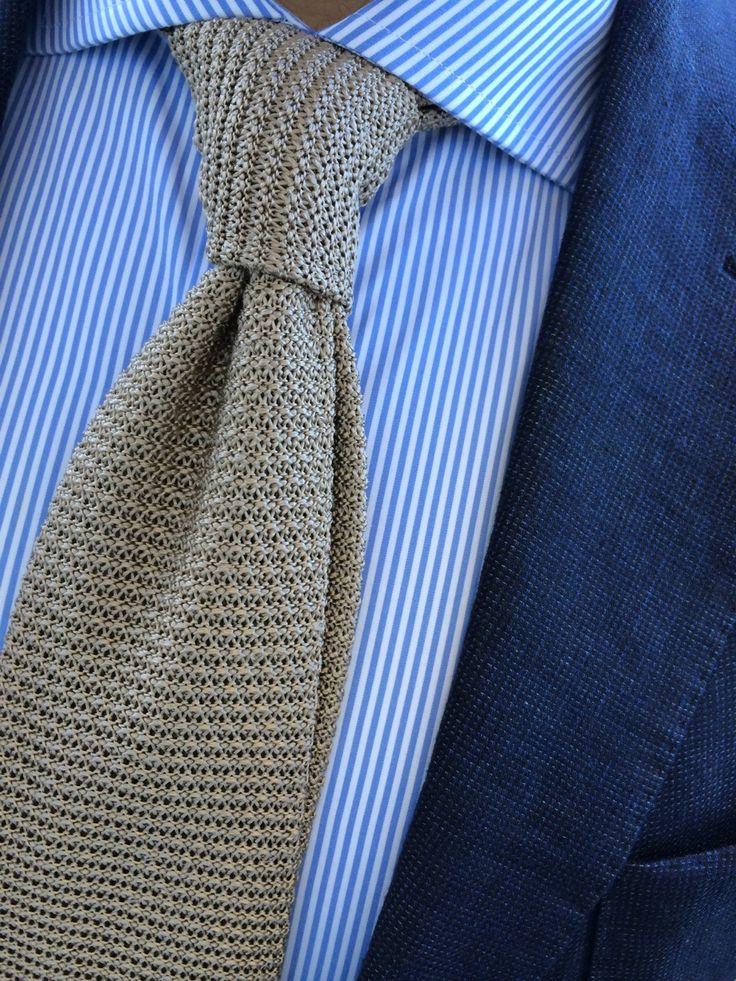 Navy jacket, white shirt with blue dress stripes, beige knit tie #fashion & #style
