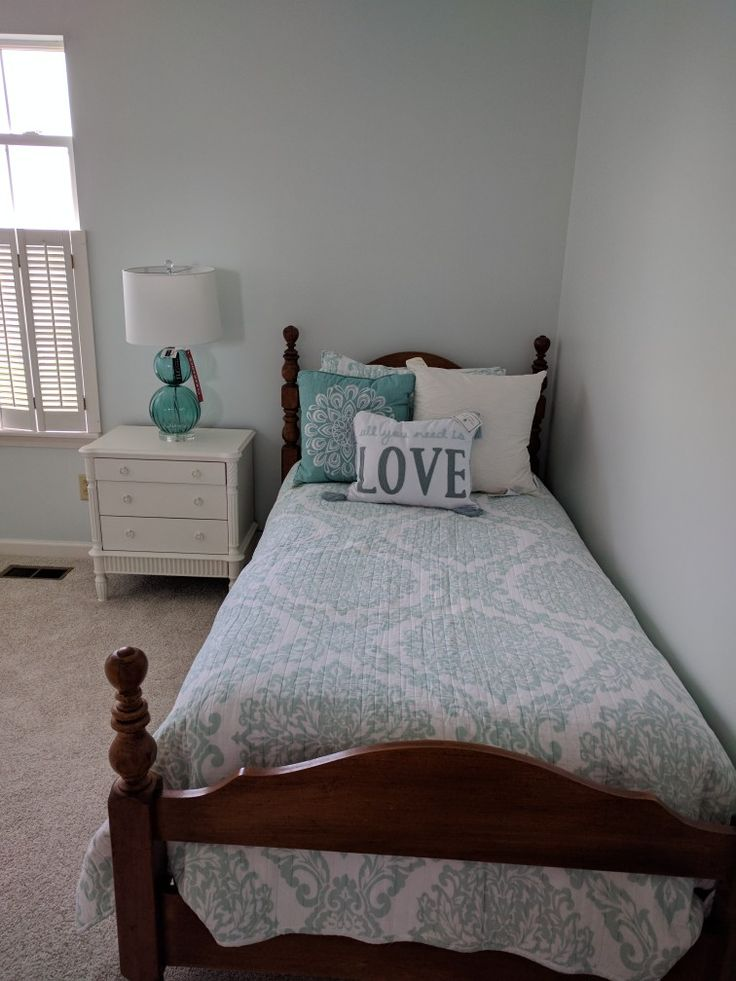 Sherwin Williams Glimmer  a very light aqua Just what I wanted  Heathers room makeover in