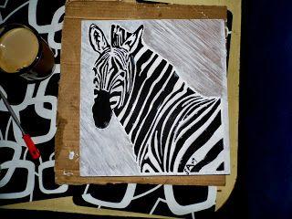 Obraz nowoczesny frezowany ręcznie zdobiony- Zebra Grevy'ego   300x300mm płyta meblowa, mdf, sklejka   Modern image painting hand- milled zdobiony- Grevy's zebra   furniture board , MDF , plywood