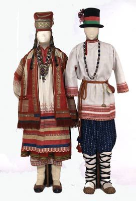 ol< Female and male costumes. Russians. South Russia. Riazan Province. Late 19th cen.