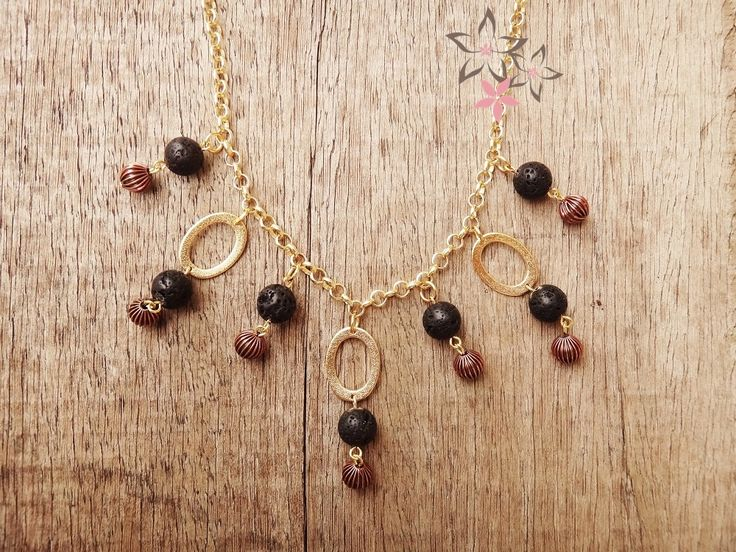 Black Lava Brass & Gold Charms Handmade Necklace