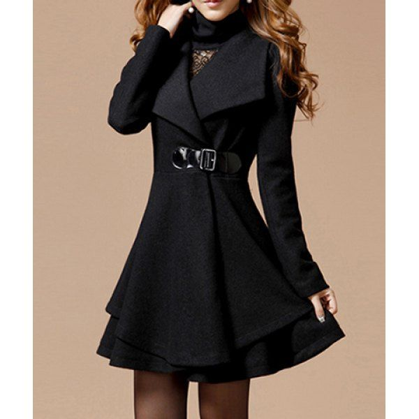 Noble Style Worsted Turn-Down Collar Long Sleeves Solid Color Women's Coat