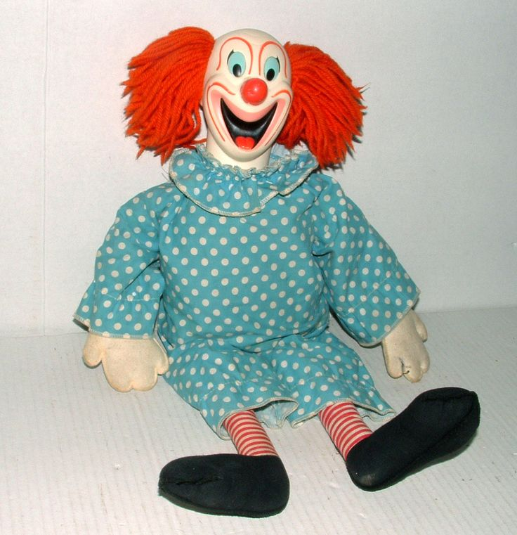 "1964 Mattel 20"" Talking Bozo The Clown Cloth Doll w Yarn Hair Original Outfit"
