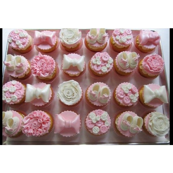 Baby Booties, Bows, Bows Baby Shower Cupcakes ❤ liked on Polyvore featuring food