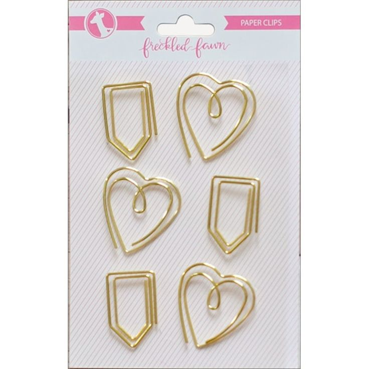 Freckled Fawn Decorative Metal Paper Clips 6/Pkg-Gold Heart - gold heart & tab