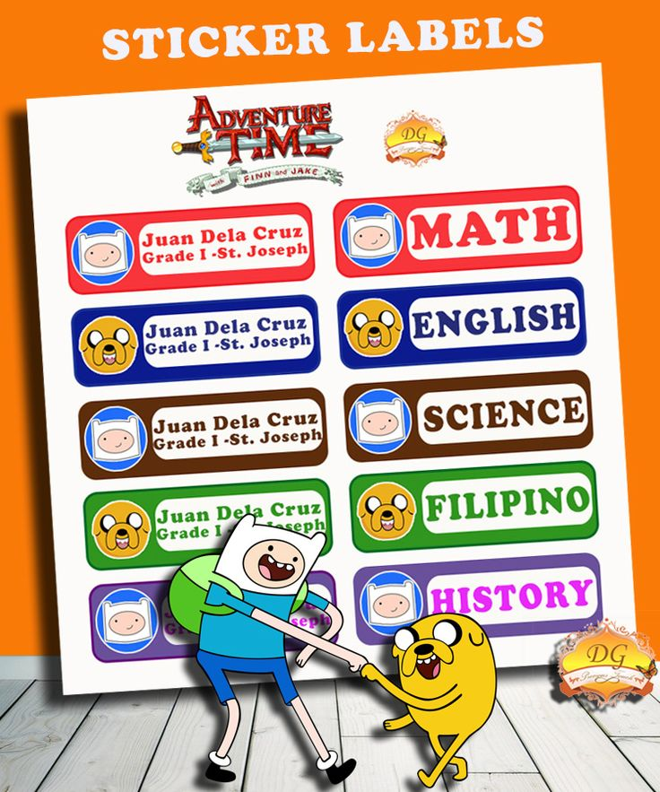 ADVENTURE TIME STICKER LABELS :) BACK TO SCHOOL!! :)   Organize your child's school supplies such as books and notebooks with stickers! Put your child's name and school/ class section. Customize ANY CHARACTER and ANY COLOR! <3     Send us a message on facebook DG Precious Touch for your inquiries :)