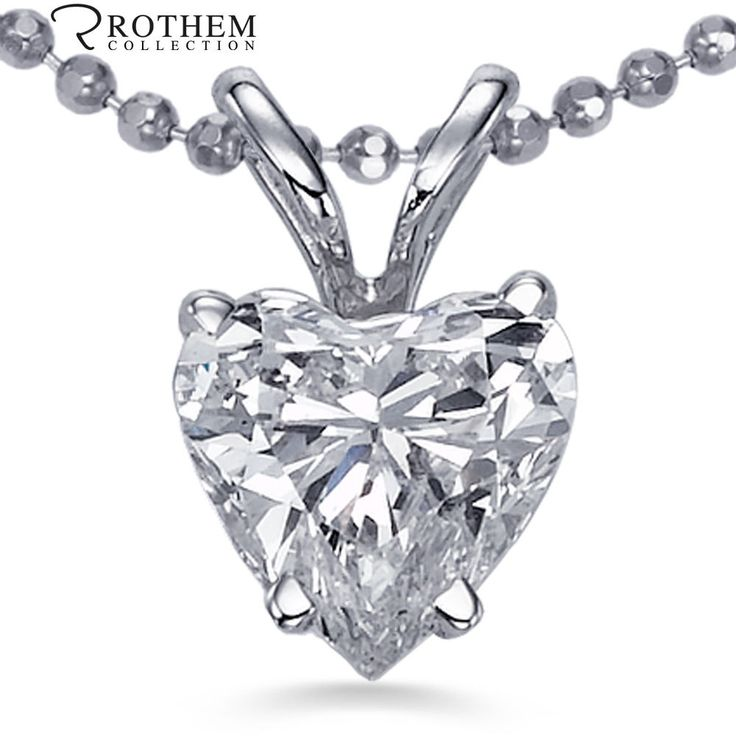 0.36 Carat F VS2 14K White Gold Heart Shape Diamond Pendant Necklace 45429 #RothemCollection #Pendant