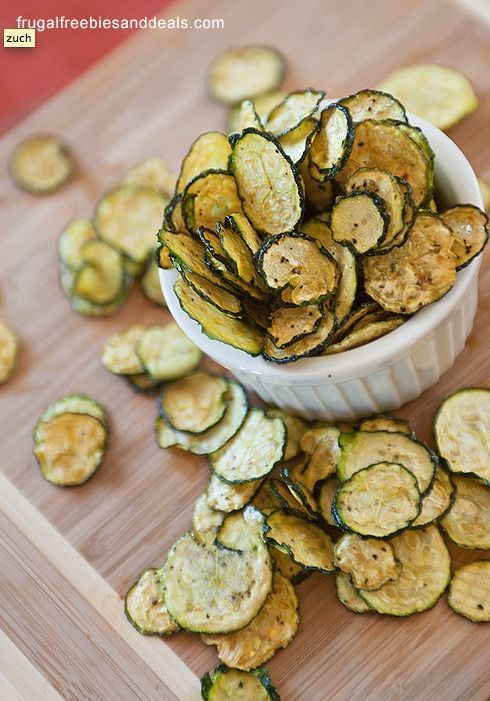 These Zucchini Chips are full of flavor and slightly spicy, making the perfect snack or appetizer – click to get the recipe!