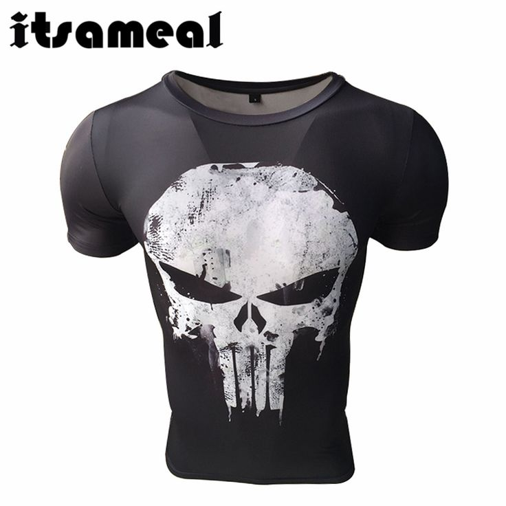 Itsameal Punisher Costumes Compression Men's Short Sleeve T-Shirts Punisher 3D Printed Fitness Raglan Homme Slim Fashion Tops #Affiliate