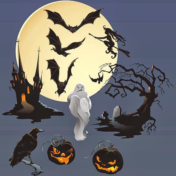 elementos de Halloween - Imágenes vectoriales con fondos y algunos elementos de Halloween, útiles para el diseño de carteles, tarjetas, etc. Cuenta con elementos tales como: cuervos, luna llena, tumbas, murciélagos, brujas volando en su escoba, calabazas iluminadas, fantasmas malignos, mansiones  y árboles tenebrosos