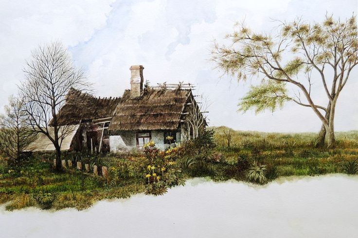 """""""A Ranch"""", a water colour painting by a fine artist Bhanupratap Khare"""