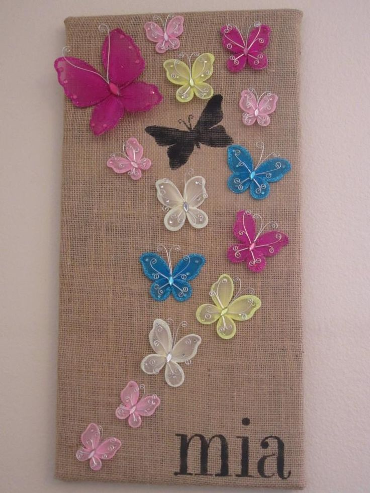 DIY Stenciled Butterfly Wall Art DIY Burlap DIY Crafts