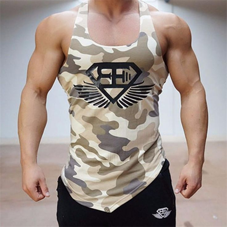Fitness Men Tank Top Army Camo Camouflage Mens Bodybuilding Stringers