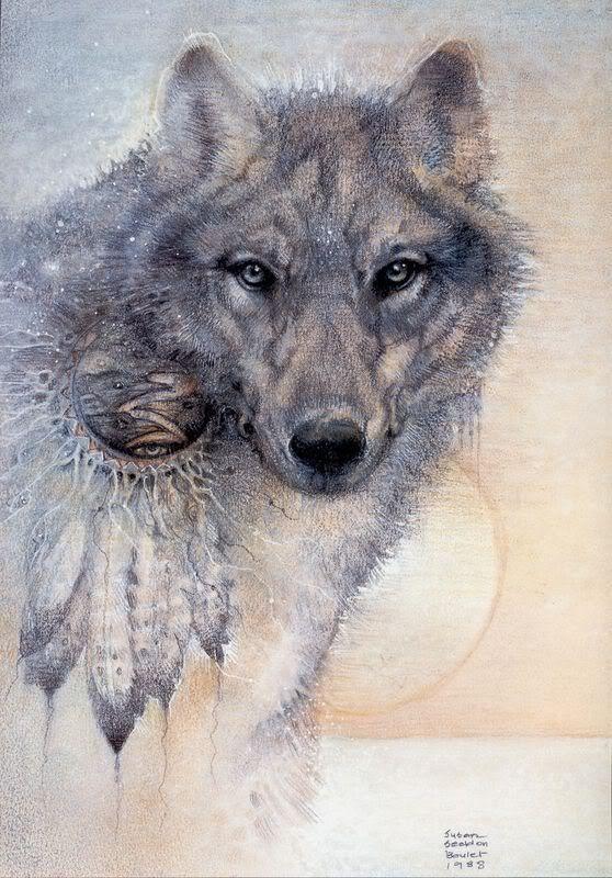 Эскиз волка с ловцом снов