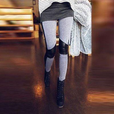 Sexy-Damen-Kunstleder-Duenne-Spleissen-Jeggings-Leggings-Leggins-Roehren-Hueft-Hosen