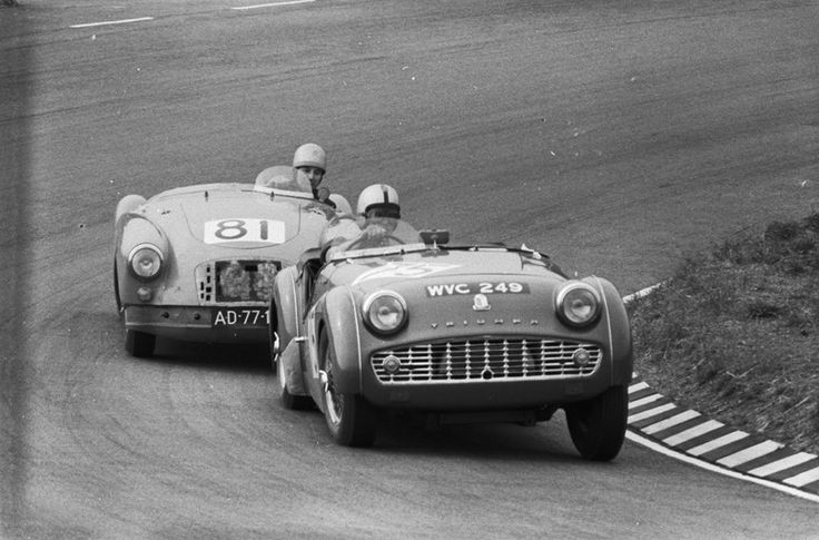 M.G. MGA Twin Cam YDH6 1094 of Han Vetter battling with Rob Slotemaker's TR3 at Zandvoort in 1960.