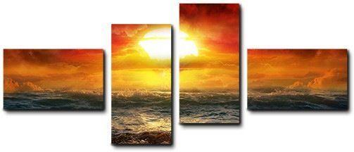 Quadro moderno 4 pz stampa su tela cm 176x74 quadri XXL arte tramonto sole mare