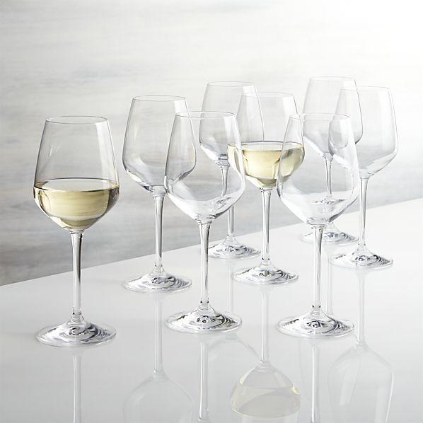 Set of 8 Nattie White Wine Glasses   Crate and Barrel