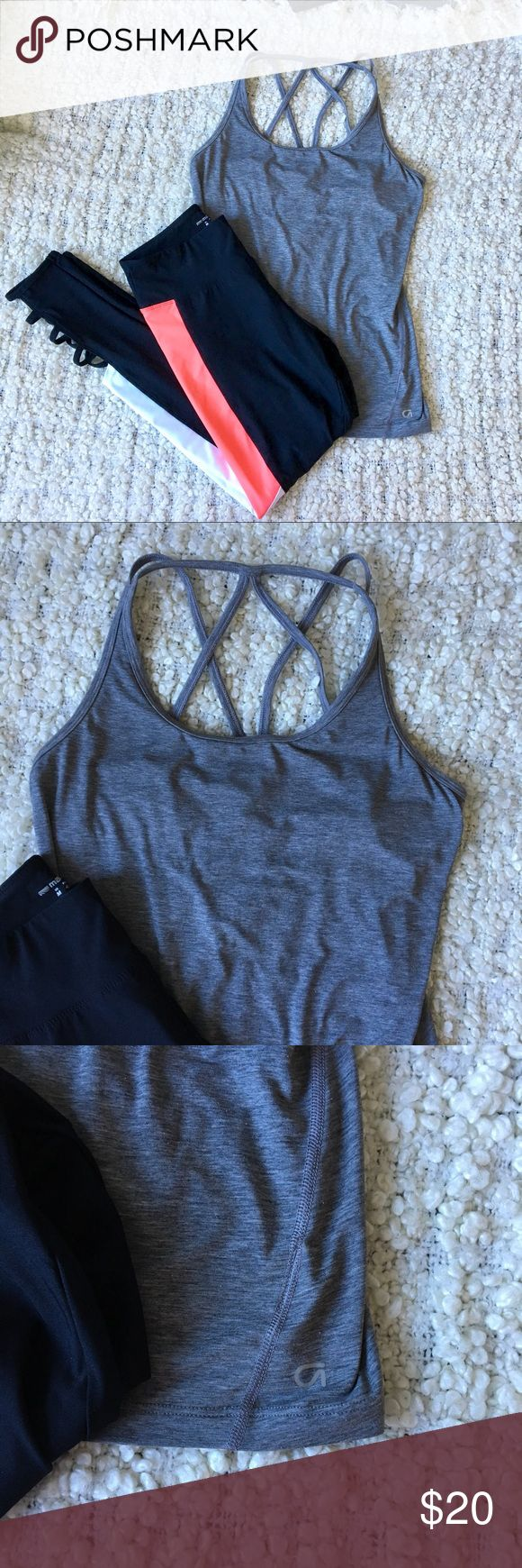 [Tank] Gap Fit • Grey strappy back fitness tank Great strappy back tank with shelf bra from gap fit. I love this too and there are no major issues I just have too many gym items! Grey in color, with funky strappy back pattern. Looks great with bright leggings or a fun pattern.sports bra! Very minimal pilling shown in last photo. Material tag was removed.   Leggings are NWT and will be for sale in closet soon. Please let me know if you're interested in being tagged once they are posted…