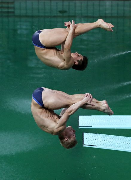 Jack Laugher and Chris Mears of Great Britain compete in the Men's Diving Synchronised 3m Springboard Final on Day 5 of the Rio 2016 Olympic Games at Maria Lenk Aquatics Centre on August 10, 2016 in Rio de Janeiro, Brazil.