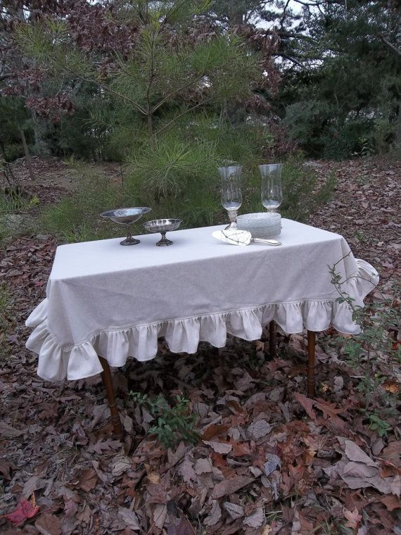 Ruffled Tablecloth Handmade Wedding Table Settings French Country Farmhouse Dining Entertaining Tabletop Cottage Chic Shabby Custon Order on Etsy, $65.00