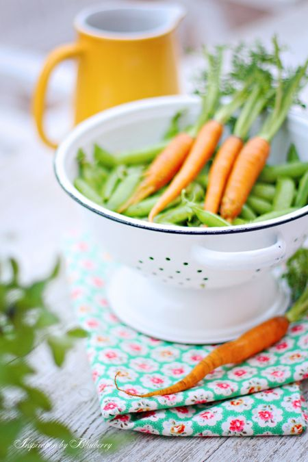 Carrots and Peas | my-blueberry-jam...❤...  Love those summer days....Shelling peas and snapping beans!!!!!  Even better, I was able to do it all sitting in Great Grandma's wicker chair.