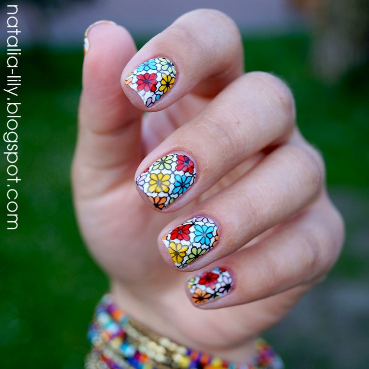 natalia-lily: Beauty Blog: MANICURE WIOSNA 2015 | Flowers Stamping Nails + step by step