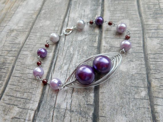 Homemade purple rosary ladies bracelet / wire wrapped jewelry / handmade jewelery / two peas in the pod / trending items / mother daughter