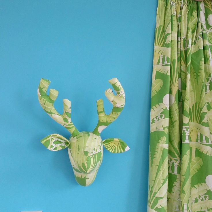 Repurposing curtains to make wall decor! Find Stan the Stag pdf sewing pattern at www.cupcakecutie1.etsy.com and you can cut upcycle your curtains and cushions to make a deer head too. #fauxtaxidermy #upcycling #cupcakecutiecraft